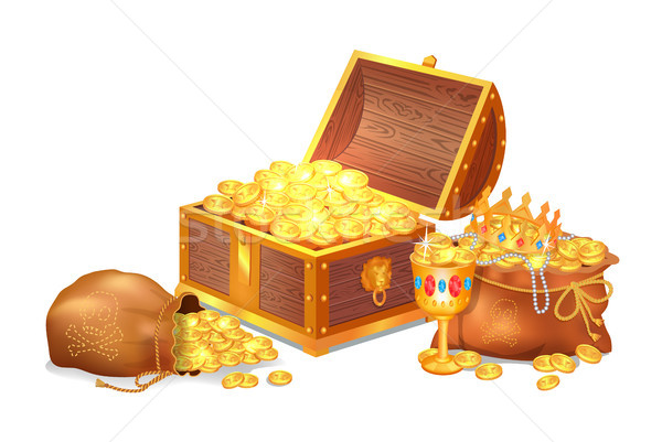 Old Shiny Treasures in Wooden Chest and Silk Sacks Stock photo © robuart