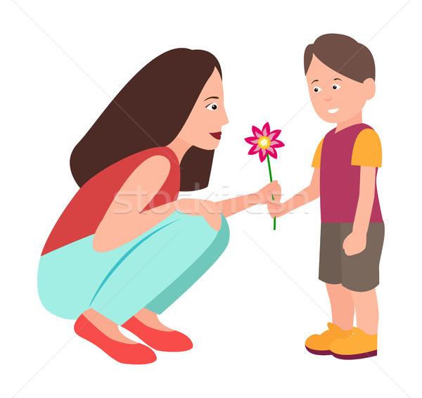 Stok fotoğraf: Oğul · çiçek · çok · güzel · anne · vektör