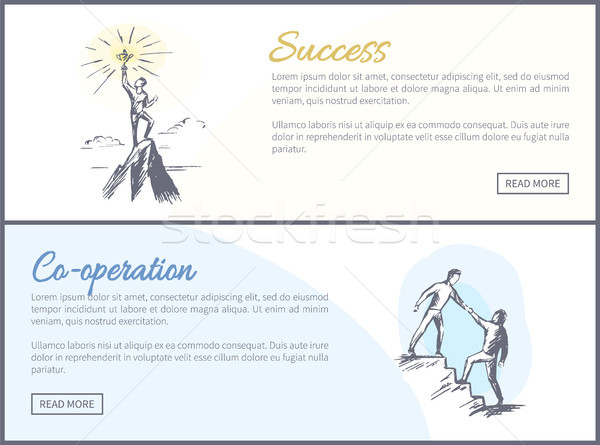 Success and Co-operation Web Vector Illustration Stock photo © robuart