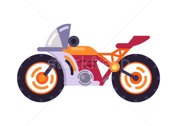 Motorized Bicycle Orange Scooter Motorbike Vector Stock photo © robuart
