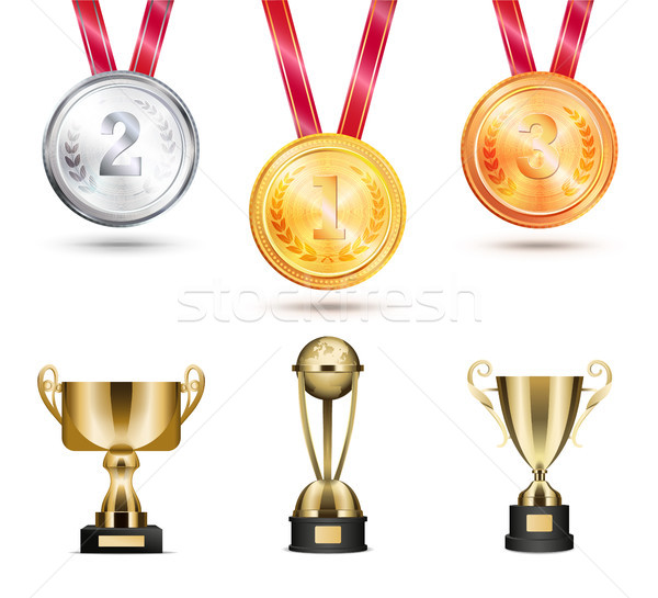 Stock photo: Medals and Trophies Collection Vector Illustration