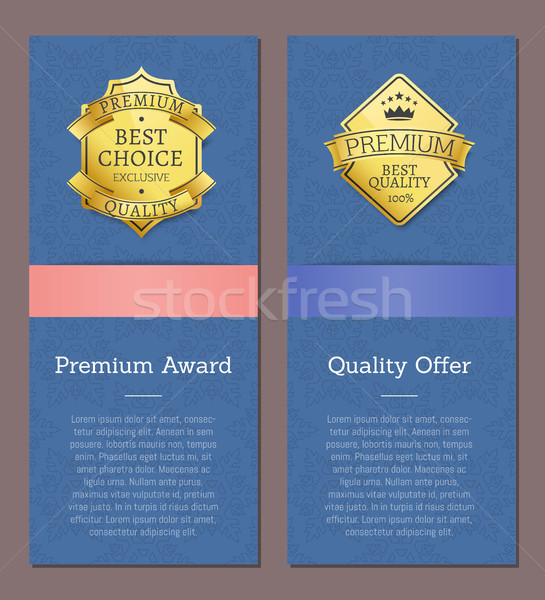 Premium Award Quality Offer Golden Labels Crown Stock photo © robuart