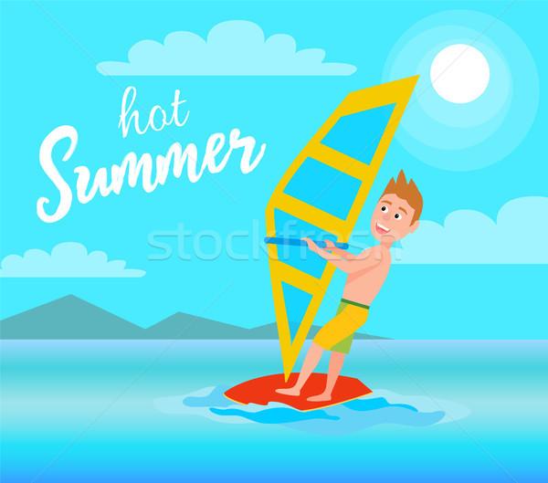 Hot Summer Poster Windsurfing Sport Activity Vector Stock photo © robuart