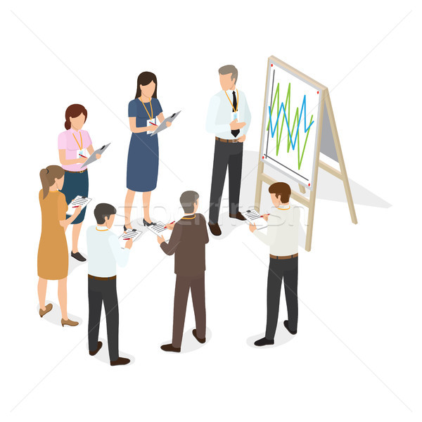 Business People with Tablet Write Changes on Paper Stock photo © robuart