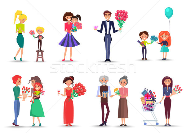 People with Bouquets and Gifts Celebrate Holiday Stock photo © robuart