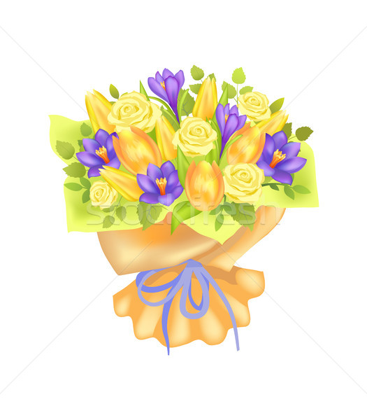 Bunch of Spring Flowers Bouquet Rose and Peony Stock photo © robuart