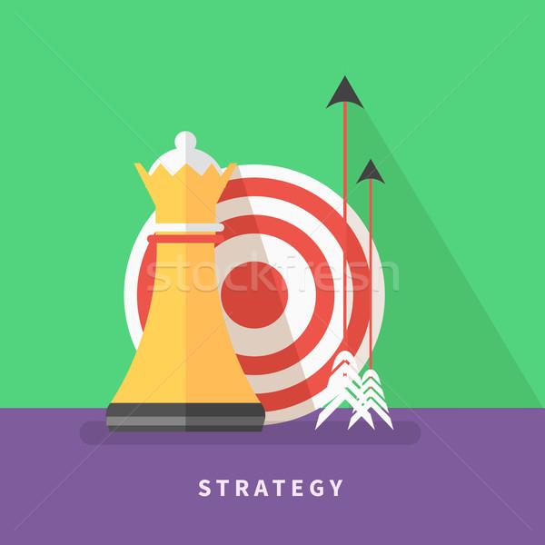 İş stratejisi misyon ikon analitik satranç kraliçe Stok fotoğraf © robuart