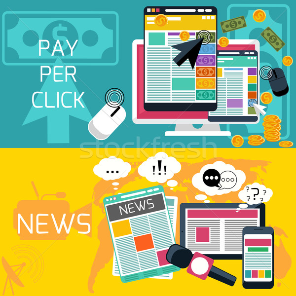 Pay per click and journalism news banners Stock photo © robuart
