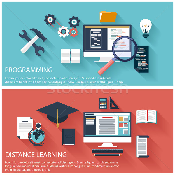 Program kodowanie dystans edukacji projektu laptop Zdjęcia stock © robuart