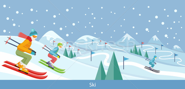 Skiing Winter Landscape Design Stock photo © robuart