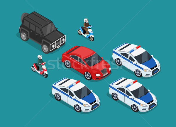 Police voiture design isométrique 3D garde Photo stock © robuart