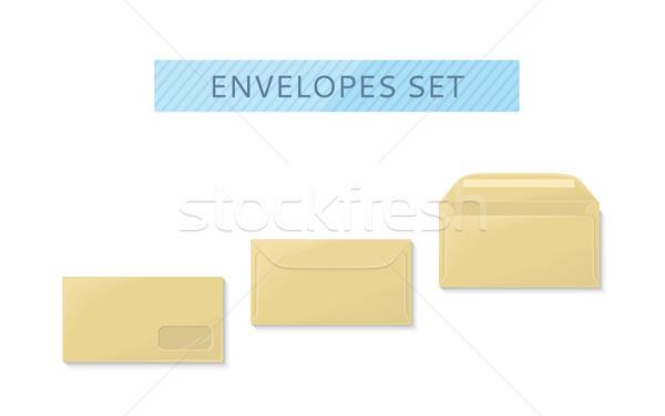 конверт набор открытых тесные дизайна письме Сток-фото © robuart