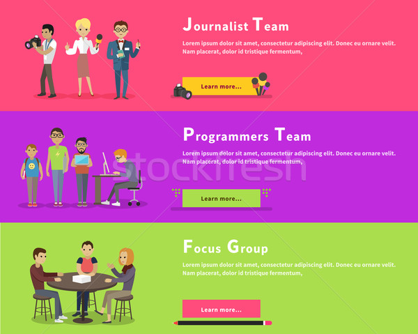 Journalists Team, Programmers Geek, Focus Group Stock photo © robuart