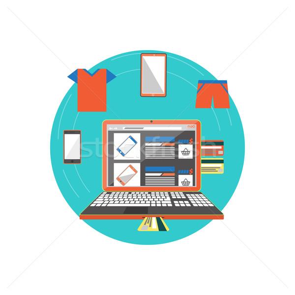 Online bolt okostelefon ruházat oldal ikon Stock fotó © robuart