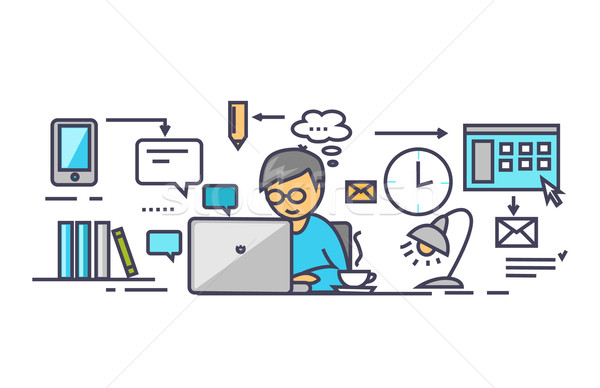 Icon Flat Style Design Work on Project Stock photo © robuart