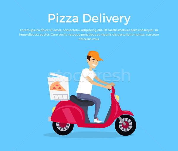 пиццы доставки баннер дизайна молодым человеком курьер Сток-фото © robuart