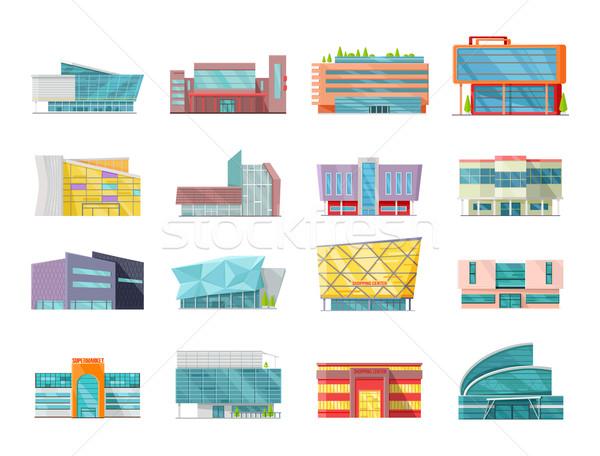 Stylu handlowych budynków kolekcja zestaw architektury Zdjęcia stock © robuart