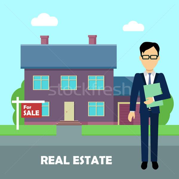 Immobilien Illustration Design Vektor Immobilienmakler Dokumente Stock foto © robuart