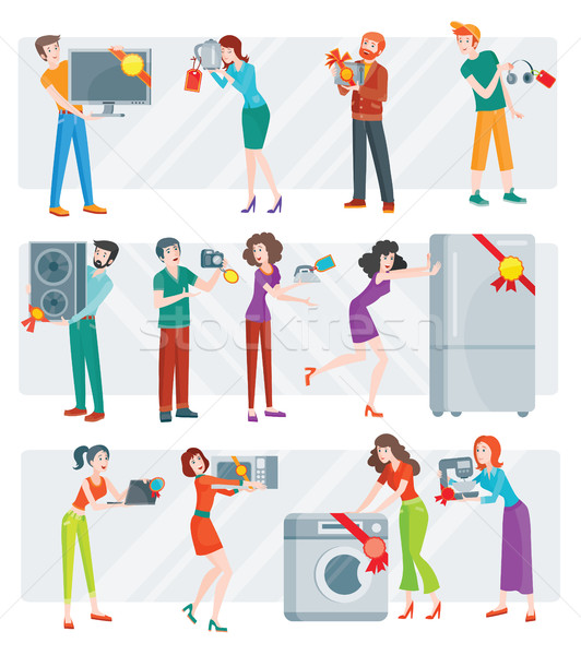 Set of Peoples on Electronics Store Sale Vector Stock photo © robuart