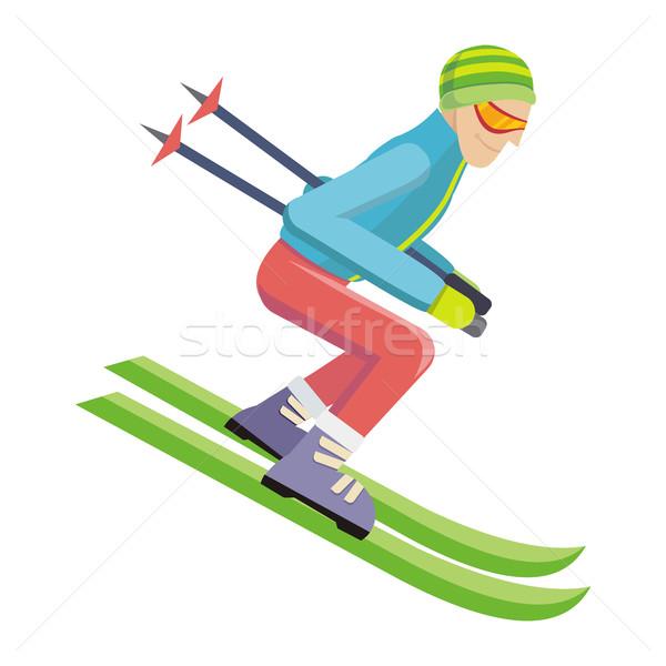 Stok fotoğraf: Kayakçı · yalıtılmış · beyaz · kişi · kayakçılık · vektör