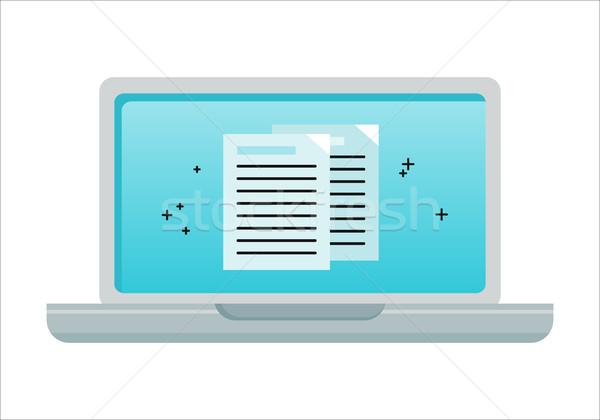 Laptop elektronikus iratok képernyő ikon online Stock fotó © robuart