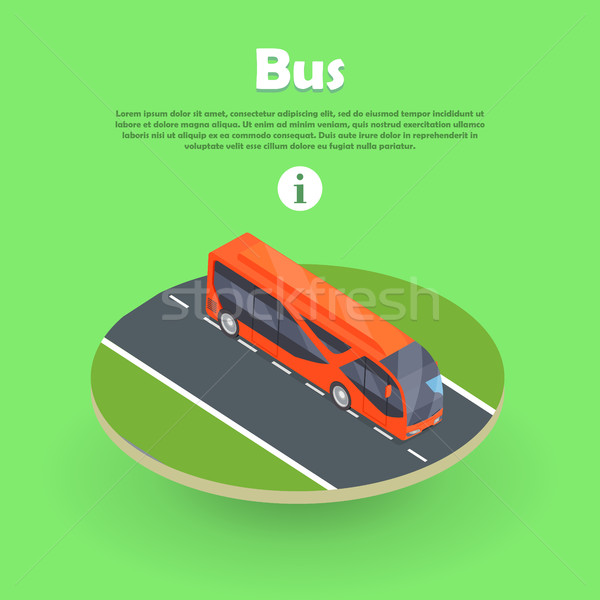 Isometric Bus on Part of Road Web Banner. Vector Stock photo © robuart