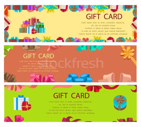 Gift card kleurrijk poster frames dozen aanwezig Stockfoto © robuart