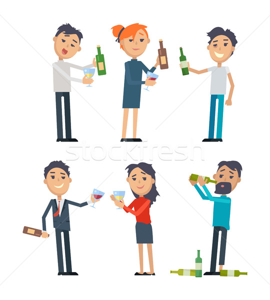 Drunk People with Alcohol Flat Vectors Set  Stock photo © robuart
