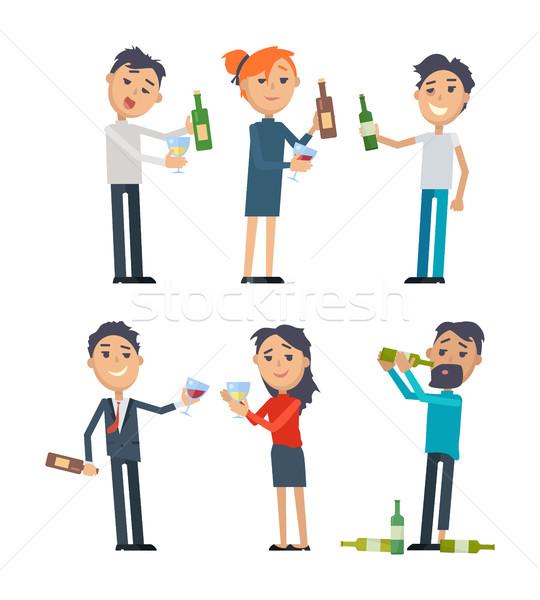 Sarhoş insanlar alkol vektörler ayarlamak elbise Stok fotoğraf © robuart