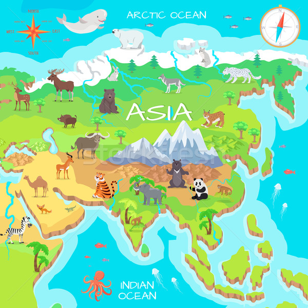 Asia Cartoon mapa fauna especies cute Foto stock © robuart