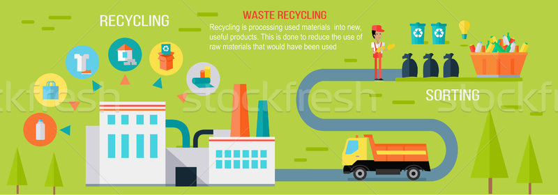 Waste Recycling Infographic Vector Concept. Stock photo © robuart