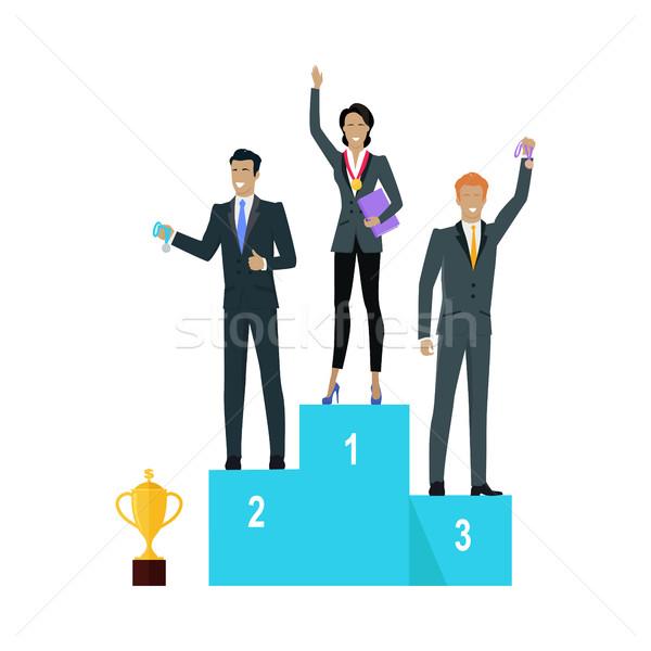 Udany zespołu banner ludzi zwycięzcy podium Zdjęcia stock © robuart