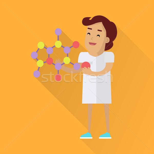Foto d'archivio: Scienziati · donna · lavoro · bianco · robe · scienziato