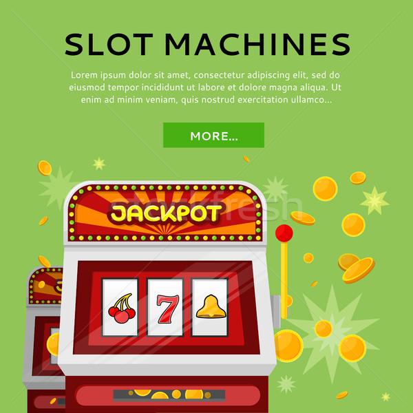 Slot Machine Web Banner Isolated on Green Stock photo © robuart