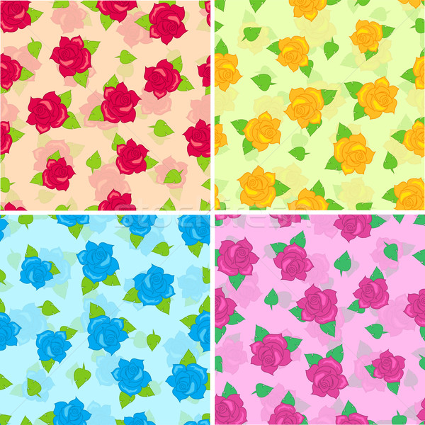 Stock photo: Rose with Green Leaves Seamless Pattern Set Vector