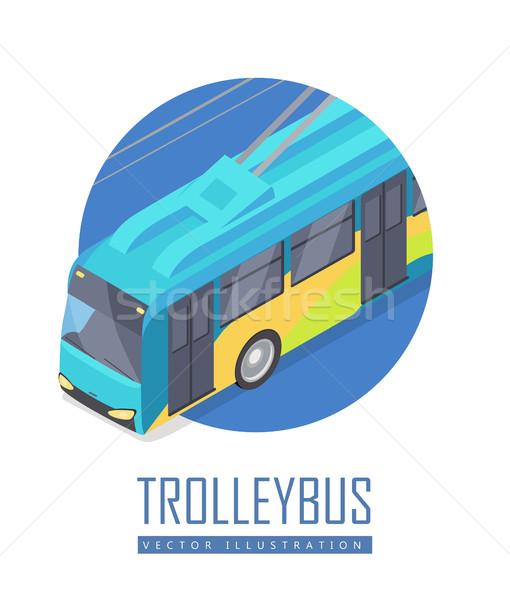 Icono del vector proyección icono azul aislado Foto stock © robuart