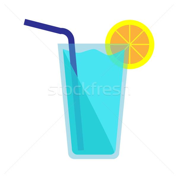 Foto stock: Azul · coquetel · ícone · vidro · fatia · limão