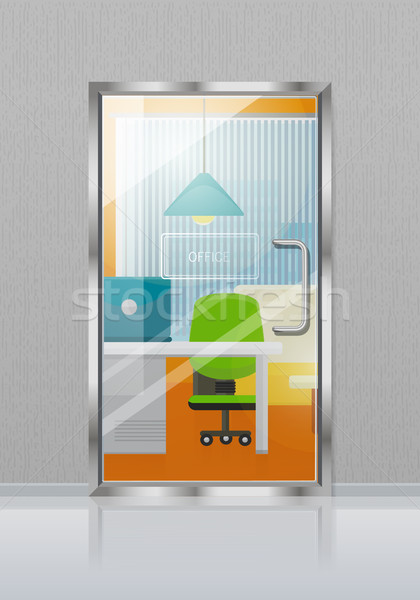Glass transparent Door in Grey Wall with Nameplate Stock photo © robuart