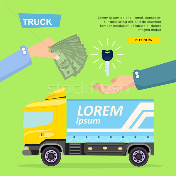 Buying Truck Online. Car Sale. Web Banner. Vector Stock photo © robuart