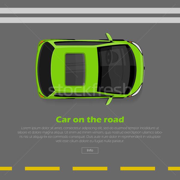 Stock photo: Car on Road Conceptual Flat Vector Web Banner
