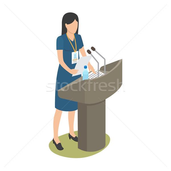 Rapor genç kadın iş konferans beyaz kadın Stok fotoğraf © robuart