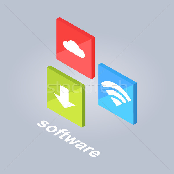 Software Symbole download Wolke Lagerung wifi Stock foto © robuart