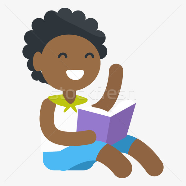 Enthusiastic African Child with Book in Hand Stock photo © robuart