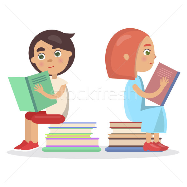 Ragazza ragazzo open libro di testo sedersi libri Foto d'archivio © robuart
