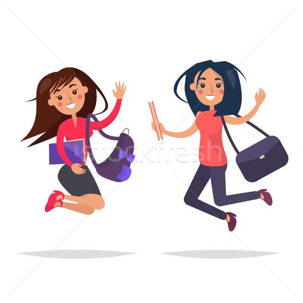 Stockfoto: Springen · meisjes · boeken · zakken · illustratie · mooie