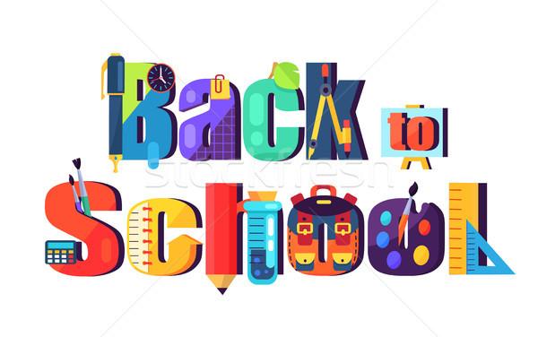 Снова в школу плакат изолированный белый вектора Сток-фото © robuart