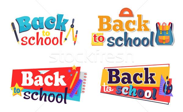 Stock fotó: Vissza · az · iskolába · matricák · szett · mozdulatlan · tárgyak · irodaszer