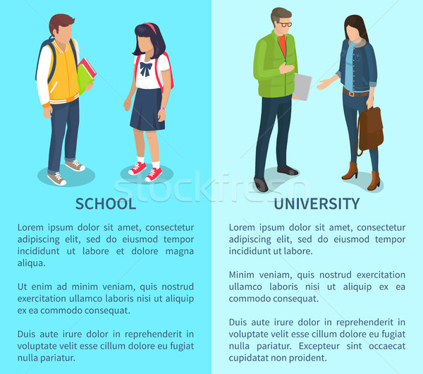 School and University Set of Posters with Text Stock photo © robuart