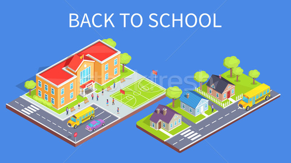 School Area 3D Illustration and Road to Home Stock photo © robuart