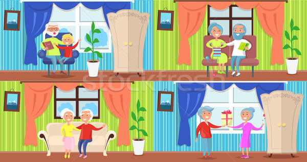 Cheerful Older People Collection of Illustrations Stock photo © robuart